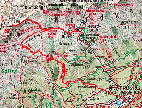 Östliche Sattelspitze (2369 m) von der Seegrube