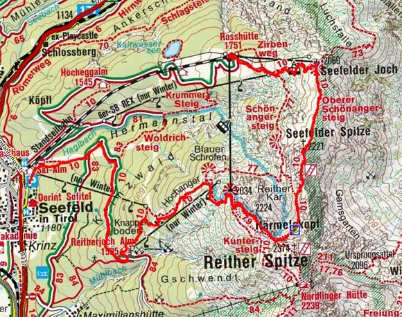 Seefelder Spitze-Härmelekopf (2221/2224 m) von der Rosshütte
