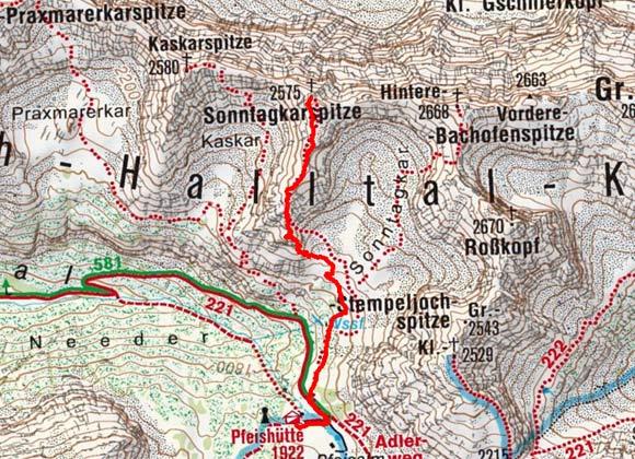 Sonntagskarspitze (2575 m) von der Pfeishütte