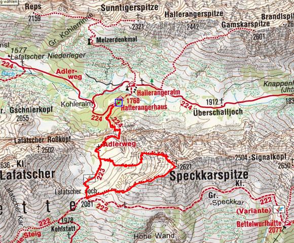 Speckkarspitze (2621 m) vom Hallerangerhaus