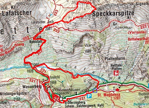 Speckkarspitze (2621 m) aus dem Halltal