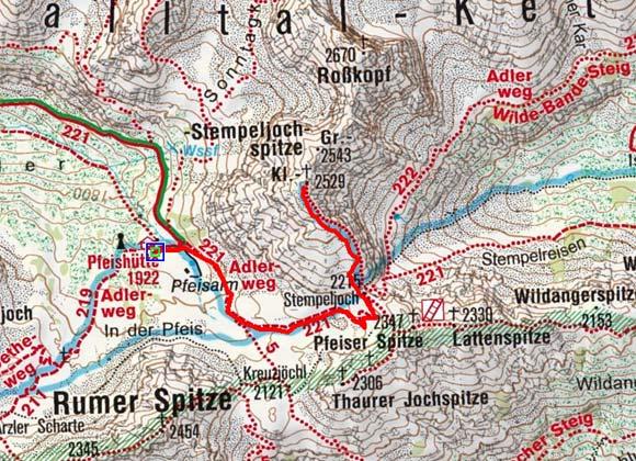 Kleine Stempeljochspitze (2529 m) von der Pfeishütte