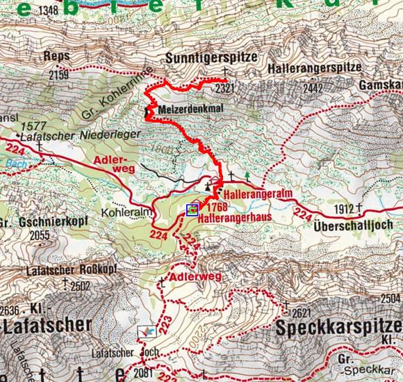 Sunntiger Spitze (2321 m) vom Hallerangerhaus