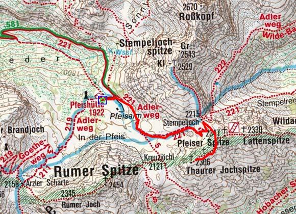Thaurer Jochspitze (2306 m) von der Pfeishütte