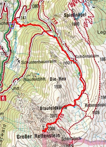Großer Rettenstein (2366 m) vom Parkplatz Hintenbach