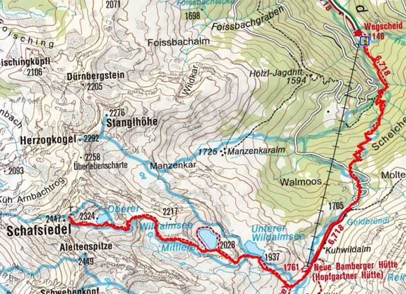 Schafsiedel (2447 m) vom Gasthaus Wegscheid