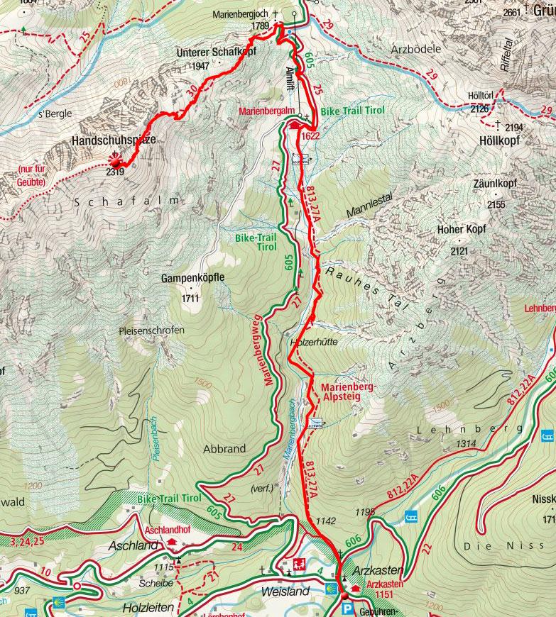 Handschuhspitze, 2319m – Bergtour vom Gasthaus Arzkasten
