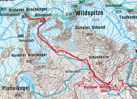 Hinterer Brochkogel (3628 m) von der Breslauer Hütte