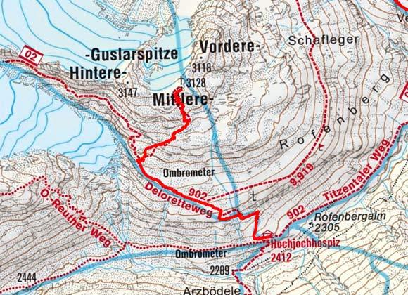 Mittlere Guslarspitze (3128 m) vom Hochjochhospiz