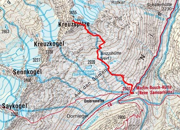 Kreuzspitze (3455 m) von der Martin Busch Hütte