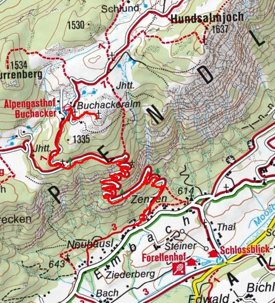 Buchacker Kreuz (1426 m) vom Weiler Embach
