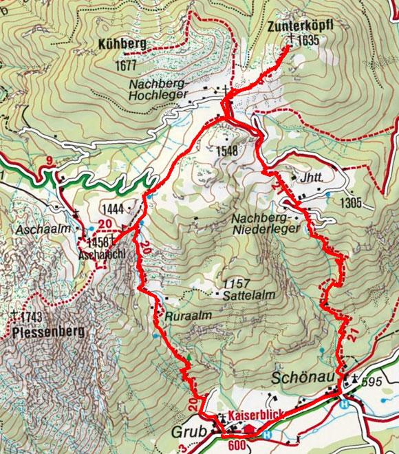 Zunterköpfl (1458 m) über das Ascherkreuz