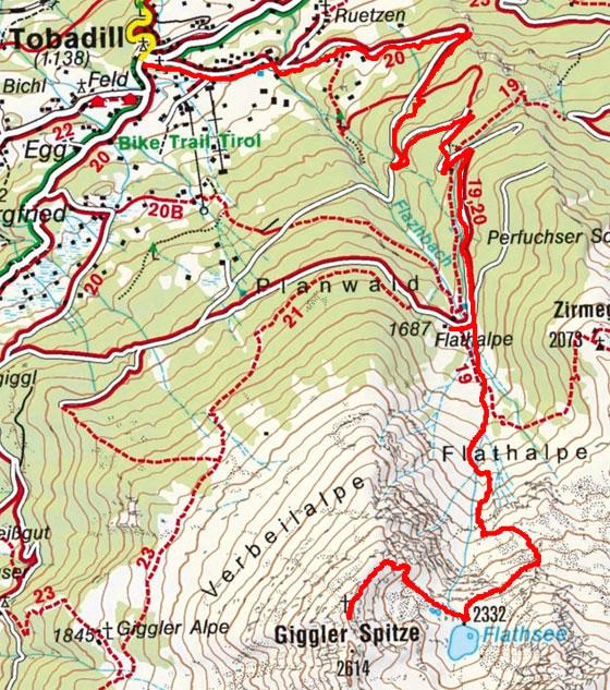 Giggler Spitze (2614 m) von Tobadill