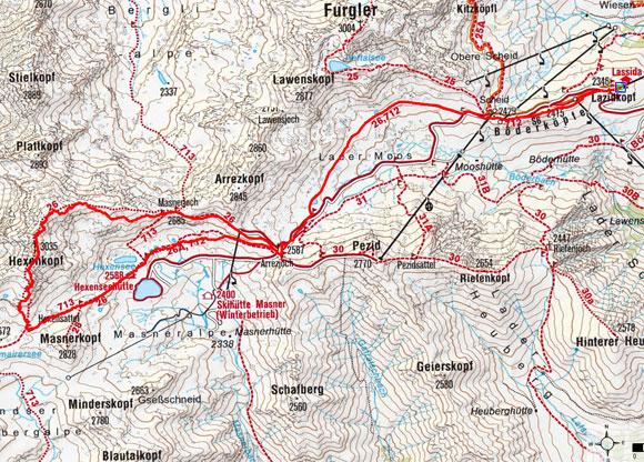 Hexenkopf (3035 m) von der Lazidbahn