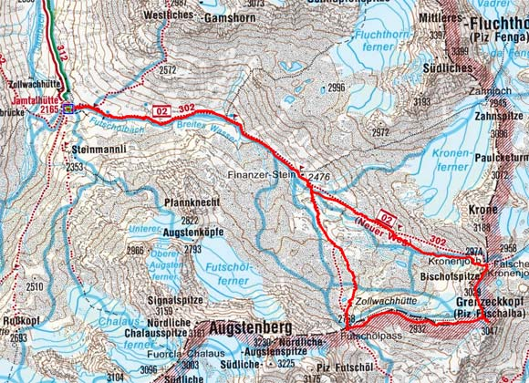 Grenzeckkopf Rundtour (3047 m) von der Jamtalhütte
