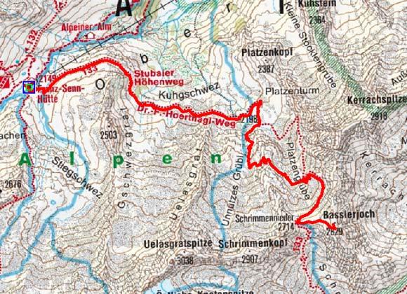 Basslerin (2829 m) von der Franz Senn Hütte