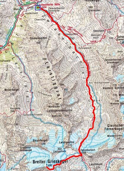 Breiter Grieskogel (3287 m) von der Schweinfurter Hütte