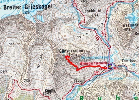 Gänsekragen (2914 m) von der Winnebachseehütte