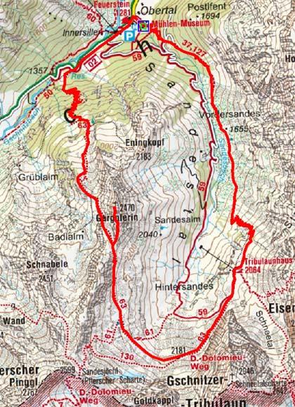 Gargglerin (2470 m) vom Gasthof Feuerstein