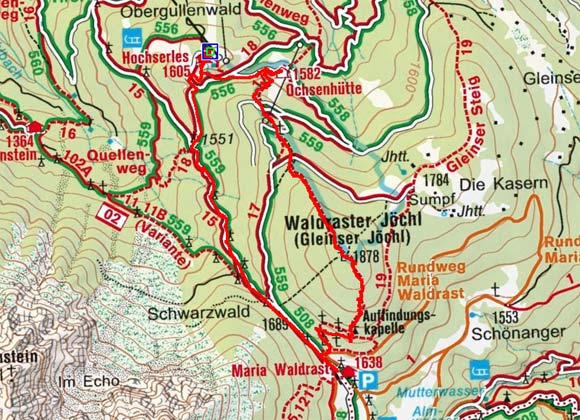 Gleinser Jöchl-Waldrasterjöchl (1878 m) von Hochserles