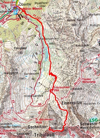 Gschnitzer Tribulaun (2946 m) vom Gasthof Feuerstein