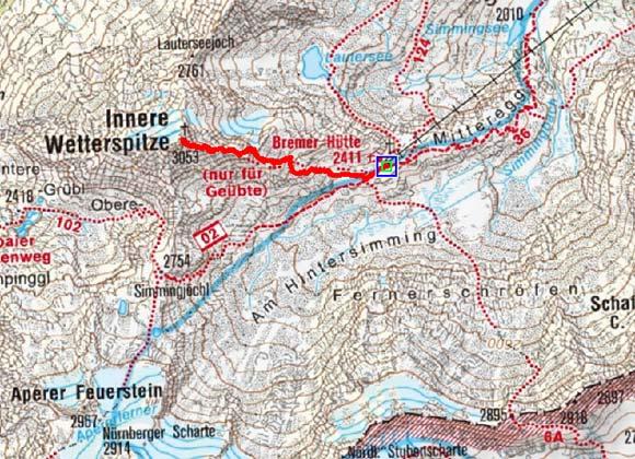 Innere Wetterspitze (3053 m) von der Bremer Hütte