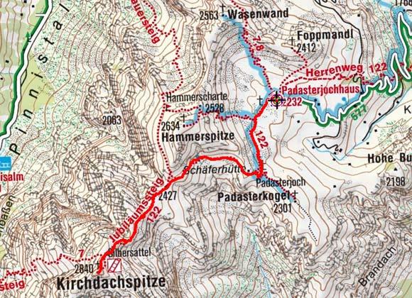 Kirchdachspitze (2840 m) vom Padasterjochhaus