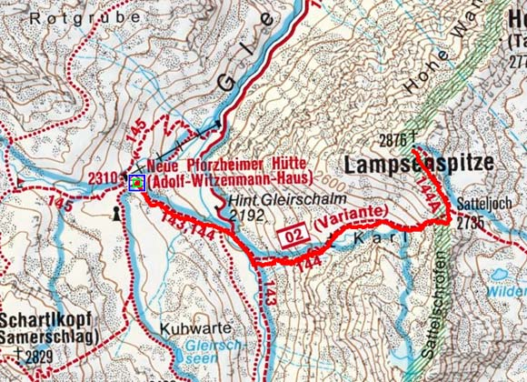 Lampsenspitze (2876 m) von der Pforzheimer Hütte