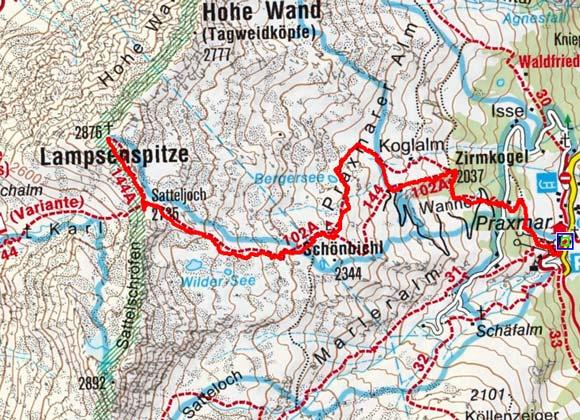 Lampsenspitze (2876 m) von Praxmar