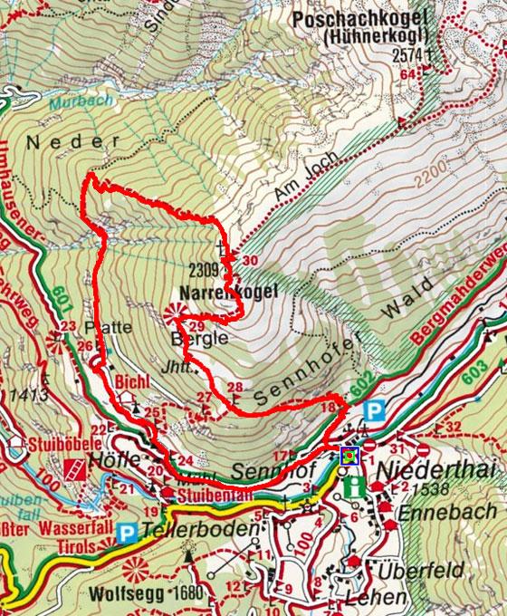 Narrenkogel (2309 m) von Niederthai