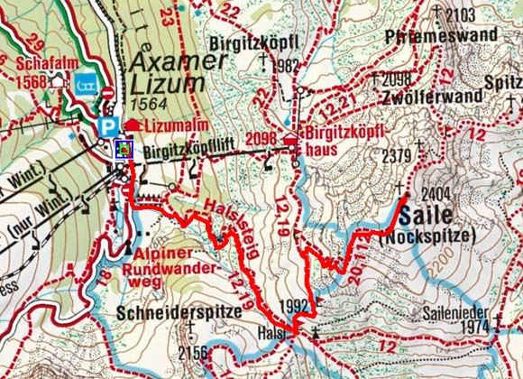 Nockspitze - Saile (2404 m) aus der Axamer Lizum