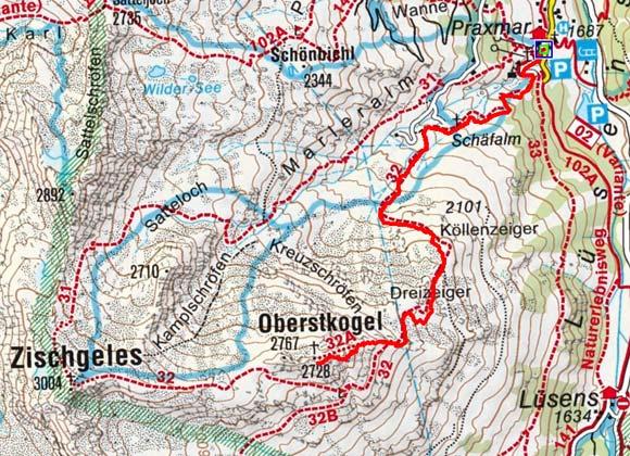 Oberstkogel (2767 m) von Praxmar