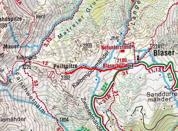 Peilspitze (2392 m) von der Blaserhütte