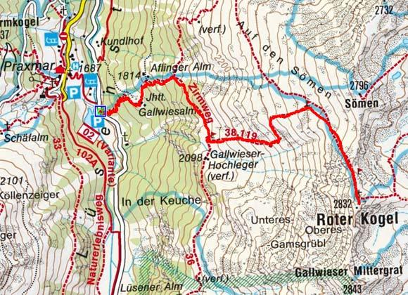 Roter Kogel (2.832 m) aus dem Lüsenstal