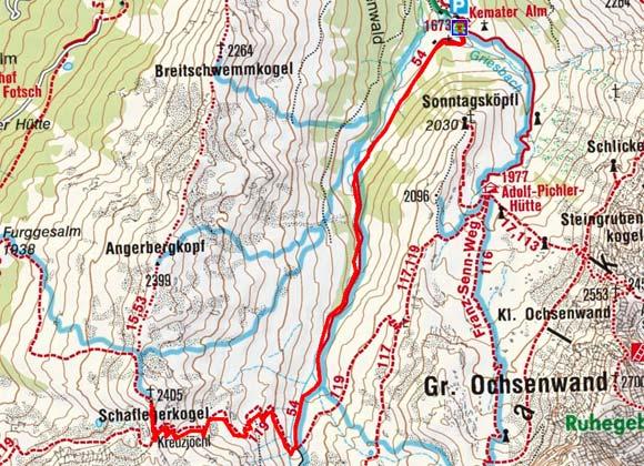 Schaflegerkogel (2405 m) von der Kemater Alm
