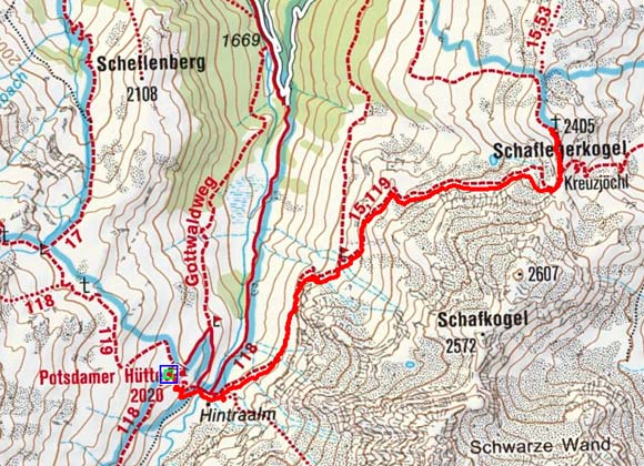 Schaflegerkogel (2405 m) von der Potsdamer Hütte