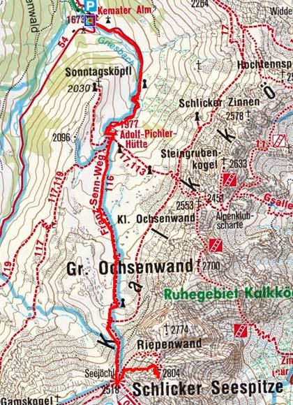 Schlicker Seespitze (2804 m) von der Kemater Alm