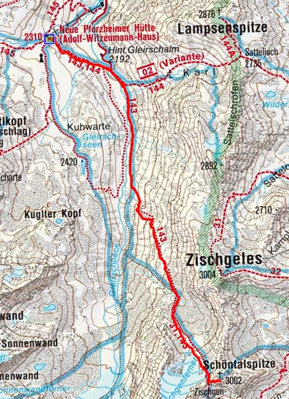 Schöntalspitze (3002 m) von der Pforzheimer Hütte
