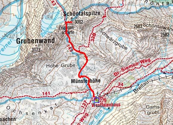 Schöntalspitze (3002 m) vom Westfalenhaus