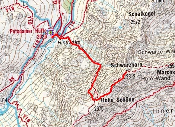 Schwarzhorn (2812 m) von der Potsdamer Hütte