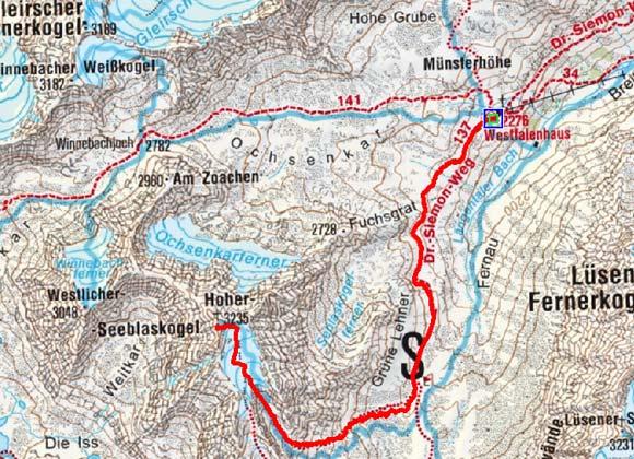 Hoher Seeblaskogel (3235 m) vom Westfalenhaus