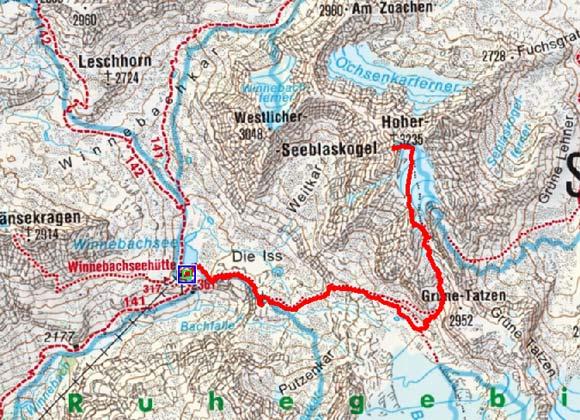 Grosse Seeblaskogel Umrahmung von der Winnebachseehütte