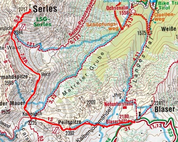 Serles (2717 m) von der Blaserhütte