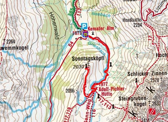 Sonntagsköpfl (2036m) von der Kemater Alm