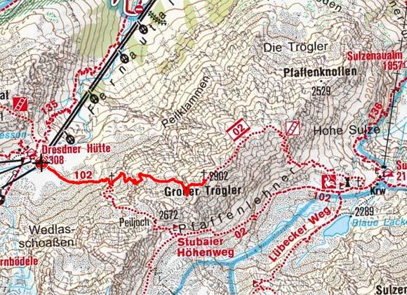 Großer Trögler (2902 m) von der Dresdner Hütte