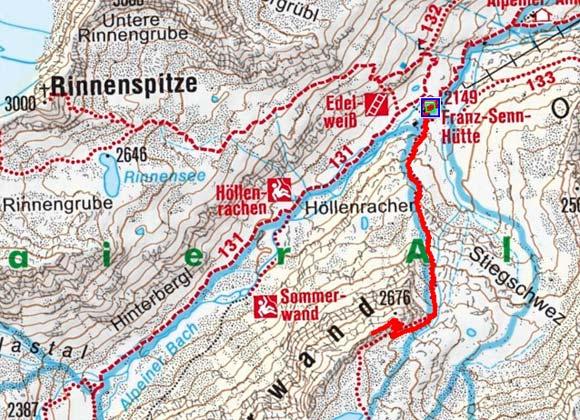 Vordere Sommerwand (2677 m) von der Franz Senn Hütte