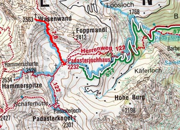 Wasenwand (2563 m) vom Padasterjochhaus