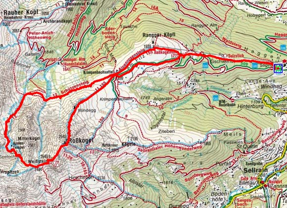 Weißstein-Roßkogel Rundtour (2640/2646 m) von Stiglreith