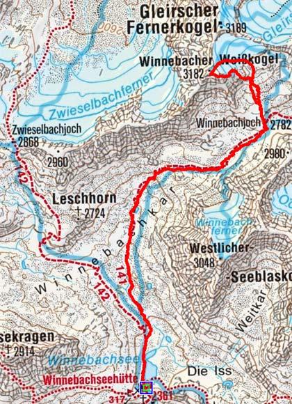 Winnebacher Weißkogel (3.182 m) von der Winnebachseehütte