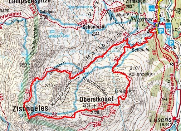 Zischgeles (3003 m) von Praxmar